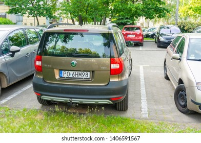 Poznan, Poland - May 24, 2019: Parked Skoda Yeti car on a parking spot in the Stare Zegrze district.
