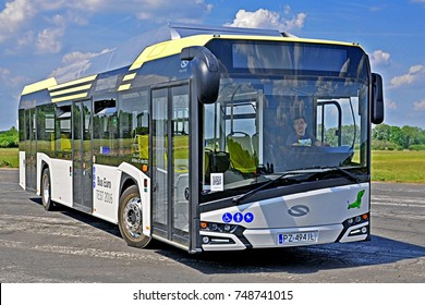 POZNAN, POLAND - MAY 24 - Electric Solaris Urbino 12 bus, manufactured by the Polish company Solaris Bus & Coach, which actively enters the electromobility market, on May 24, 2016 in Poznan, Poland