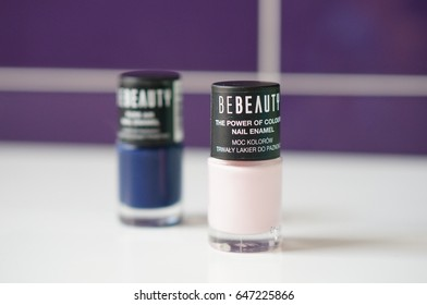 POZNAN, POLAND - MAY 25, 2017: Two small bottles of Be Beauty nail color in soft focus
