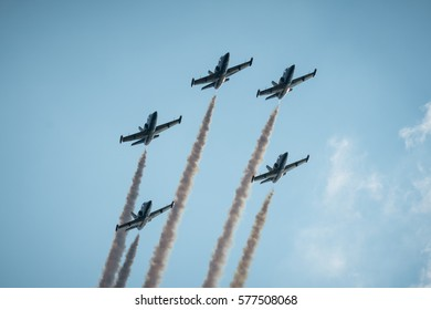 "POZNAN, POLAND - MAY 28, 2016: ""Baltic Bees"" aerobatic team fly over Poznan airfield"