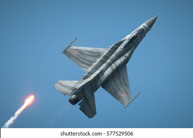 POZNAN, POLAND - MAY 28, 2016: F-16 Fighting Falcon, a single-engine multi role fighter aircraft originally developed by General Dynamics. Polish Air Force Tiger Demo Team.