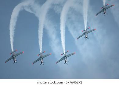 POZNAN, POLAND - MAY 28, 2016: The polish acrobatic team Orliki fly over Poznan Airport