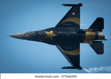 POZNAN, POLAND - MAY 28, 2016: Soloturk - Turkish Air Force F-16C Fighting Falcon at Poznan Airport