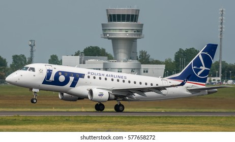 POZNAN, POLAND - MAY 28, 2016: SP-LDE - Embraer 170 - LOT Polish Airlines plane takes off from Poznan Airport