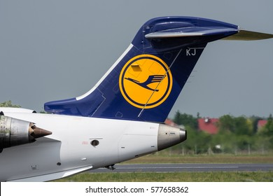 POZNAN, POLAND - MAY 28, 2016: German Lufthansa plane Bombardier CRJ900 at Poznan airport runway