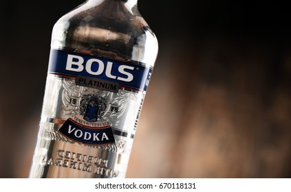 POZNAN, POLAND - MAY 31, 2017: Bols is the oldest distillery brand in the world created by Dutch distiller Lucas Bols in 1575. Now distributed in 110 countries.