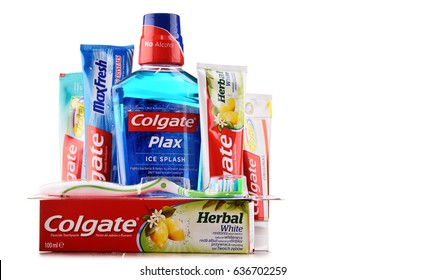 POZNAN, POLAND - MAY 5, 2017: Colgate, a brand of oral hygiene products such as toothpastes, toothbrushes, mouthwashes and dental floss produced by American consumer-goods company Colgate-Palmolive