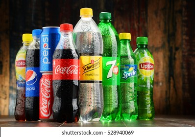 POZNAN, POLAND - NOV 23, 2016: Global soft drink market is dominated by brands of few multinational companies founded in North America. Among them are Pepsico, Coca Cola and Dr. Pepper Snapple Group