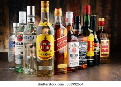 POZNAN, POLAND - NOV 23, 2016: Worldwide some 2 billion people use alcohol, one of the most widely used recreational drugs on earth, with yearly consumption of over 6 litres of pure alcohol per person