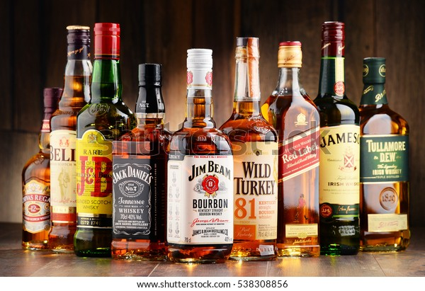 POZNAN, POLAND - NOV 23, 2016: Whiskey is the most popular liquor in the world. Originated probably in Ireland, now it is produced also in India, Scotland, USA, Canada and Japan.