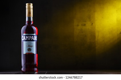 POZNAN, POLAND - NOV 29, 2018: Bottle of Campari, an alcoholic liqueur containing herbs and fruit (including chinotto and cascarilla), invented in 1860 by Gaspare Campari in Novara, Italy.