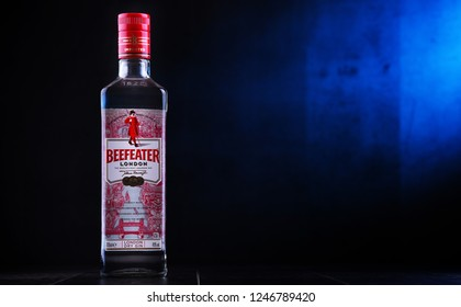 POZNAN, POLAND - NOV 29, 2018: Bottle of Beefeater Gin, a brand of gin owned by Pernod Ricard and bottled and distributed in the UK, by the company of James Burrough.