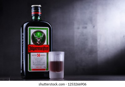 POZNAN, POLAND - NOV 29, 2018: Bottle of Jagermeister, German digestif made with 56 herbs and spices, the flagship product of Mast-Jagermeister SE