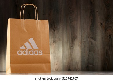 POZNAN, POLAND - NOV 3, 2016: Adidas AG headquartered in Herzogenaurach, Bavaria, Germany is the largest sportswear manufacturer in Europe and the second biggest in the world