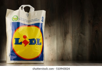 POZNAN, POLAND - NOV 3, 2016: Lidl is a German discount supermarket chain, based in Neckarsulm, Germany, that operates over 10,000 stores across Europe, part the holding company Schwarz Gruppe,