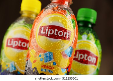 POZNAN, POLAND - NOV 4, 2016: Lipton Ice Tea is a soft drink brand sold by Lipton belonging to Unilever, a British-Dutch multinational consumer goods company.