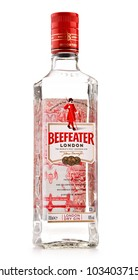 POZNAN, POLAND - NOV 8, 2017: Beefeater Gin is a brand of gin owned by Pernod Ricard and bottled and distributed in the UK, by the company of James Burrough.