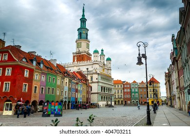 Poznan, Poland - November 01, 2012: The colorful main square and town hall in Poznan in Poznan, Poland. The city is the 4th largest and the 3rd most visited city in Poland.
