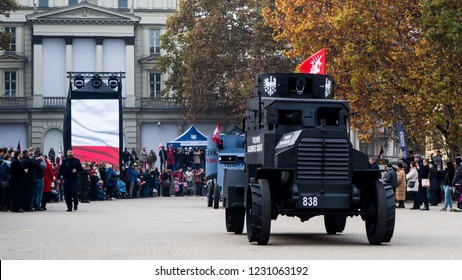 Poznan, Poland - November 11 2018: Independence Day, reconstruction groups, parades. 100th anniversary of regaining independence.