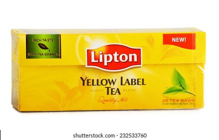 POZNAN, POLAND - NOVEMBER 21, 2014: Lipton Yellow Label is a famous brand of tea produced by Lipton since 1890, now sold in over 150 countries worldwide by Anglo-Dutch multinational company Unilever