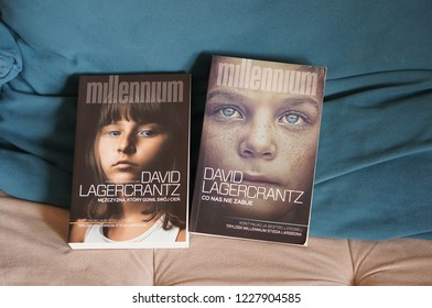 Poznan, Poland - November 5, 2018: David Lagercrantz Millennium books on a sofa.