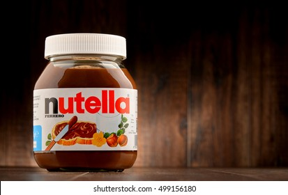 POZNAN, POLAND - OCT 11, 2016: Introduced to the market in 1964 by Italian company Ferrero, Nutella is widely popular brand name of a sweetened hazelnut cocoa spread