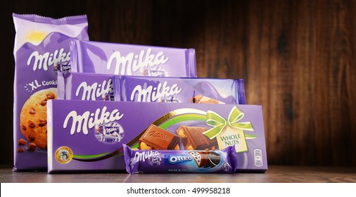 POZNAN, POLAND - OCT 13, 2016: Milka is a brand of chocolate confection which originated in Switzerland in 1825 and has been manufactured by the Mondelez Int. (formerly Kraft Foods) since 1990