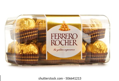 POZNAN, POLAND - OCT 13, 2016: Ferrero Rocher premium chocolate sweets produced by the Italian chocolatier Ferrero SpA. are sold in over 40 countries in amount of about 3.6 billion a year