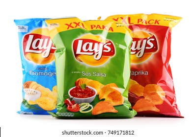 POZNAN, POLAND - OCT 25, 2017: Packets of Lay's potato chips, popular American brand founded in 1932 and owned by PepsiCo since 1965.