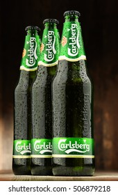 POZNAN, POLAND - OCT 28, 2016: Carlsberg globaly distributed pale lager beer produced by Carlsberg Group, a Danish brewing company founded in 1847 with headquarters located in Copenhagen, Denmark