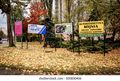 POZNAN, POLAND - OCTOBER 26, 2013: Billboards with different advertisements in the city