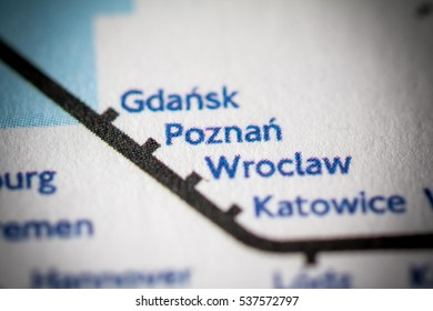 Poznan, Poland on a geographical map.