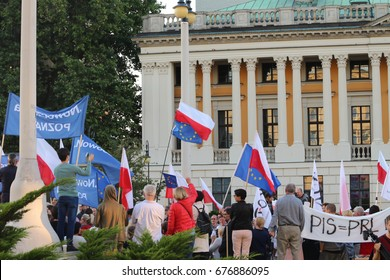 Poznan, Poland on July 13, 2017. The demonstration of the Committee for the Defence of Democracy (KOD) in protest against violations of the Polish Constitution by the ruling party.