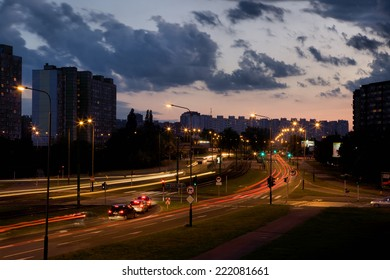 POZNAN, POLAND - SEP 18, 2014: One of the main streets in the district Rataje in Poznan. Poznan is a city in western Poland. View in the evening.