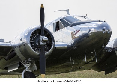 POZNAN, POLAND -SEP 23, 2015: Beechcraft C45 Twinbeech is a six to 11-seat, twin-engined, low-wing, tailwheel light aircraft manufactured by the Beech Aircraft Corporation of Wichita, Kansas