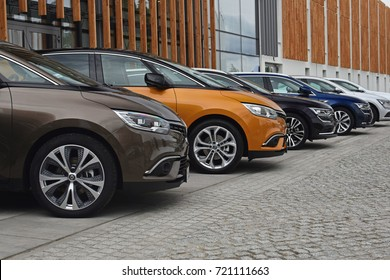 Poznan, Poland - September, 14,2017: Renault new cars in a row on the parking during presentation.
