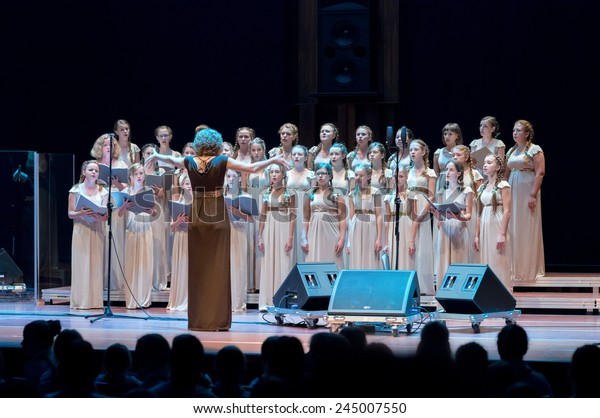 Poznan, Poland - September 19/2014; VIVAT MUSICA CHILDREN'S CHOIR, Riwne, Ukraine Conductor: N. Pawluczuk; Trillme International Girls' Choir Festival - the first artistic event of this kind in Europe