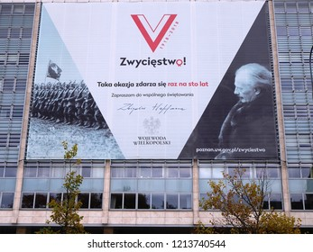 Poznan, Poland - September 20, 2018 A banner on the building of the Wielkopolska Voivodship Office prepared on the occasion of the 100th anniversary of Poland's regaining independence