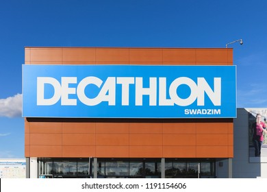 POZNAN, POLAND - SEPTEMBER 29, 2018. The logo of Decathlon S.A. - French international sporting goods retailer. Decathlon is the largest sporting goods retailer in the world.