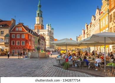 Poznan, Poland - September 8, 2018: Architecture of the main square in Poznan, Poland. Poznan is a city at the Warta River in west central Poland