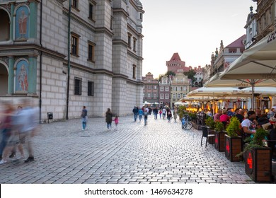Poznan, Poland - September 8, 2018: Architecture of the main square in Poznan at dusk, Poland. Poznan is a city at the Warta River in west central Poland
