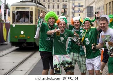 POZNAN, POLAND-JUNE 10: Irish fans in Poznan. Uefa Euro 2012. Poznan on June 10, 2012