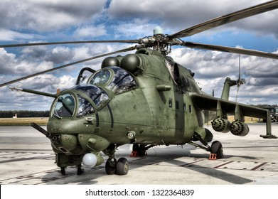 POZNAN, POLAND-MAY 23, 2018: The Mil Mi-24 is a large helicopter gunship, attack helicopter and low-capacity troop transport with room for eight passengers.