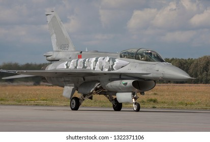 POZNAN, POLAND-MAY 23, 2018:The General Dynamics F-16 Fighting Falcon is a single-engine supersonic multirole fighter aircraft originally developed by General Dynamics