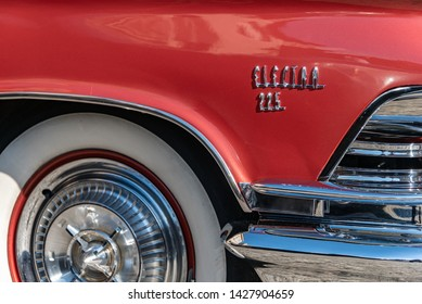 Poznan, wielkopolskie / Poland - 06 01 2019: Red Buick Electra 225 1959 right side detail