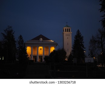 Poznan, wielkopolskie, Poland - 11.12.2018 Church of Saint Stanislaus Kostka in Poznan at night