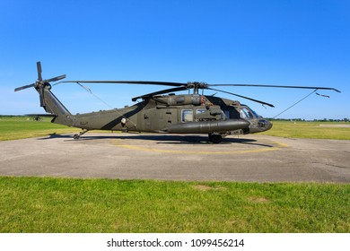 Poznan/Poland 28.03.2017: Sikorsky UH-60L Blackhawk from United States - US Army  at Poznan/Poland