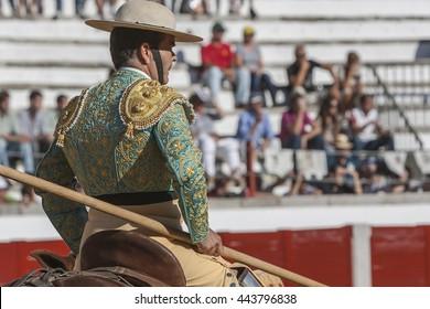 Pozoblanco, Spain - September 24, 2011: Picador bullfighter, lancer whose job it is to weaken bull's neck muscles, in the bullring for Jaen, Spain