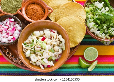 Pozole Mexican corn soup, Traditional food in Mexico made with corn grains