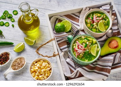 Pozole verde mexican hominy and chicken soup